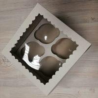 Коробка для 4 капкейка - белая с окном