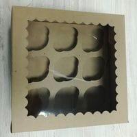 Коробка для 9 капкейков - бурая с окном