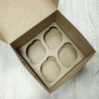 Коробка для 4 кексов - бурая