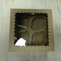 Коробка для 4 капкейка - бурая с окном