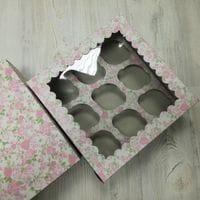 Коробка для 9 капкейков - цветная с окном