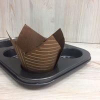 Бумажный тюльпан - коричневый в золотую полоску, 12шт