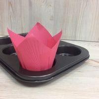 Бумажный тюльпан - розовый, 12шт