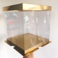 Коробка для торта прозрачная ЗОЛОТО 26*26*28см