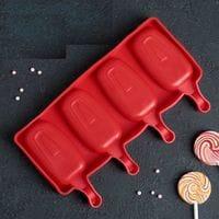 """Силиконовая форма для мороженого """"Эскимо"""" 4 ячейки"""