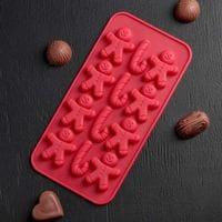 """Силиконовая форма для шоколада и мармелада """"Пряничные человечки и трости"""" 12 ячеек"""