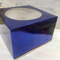 Коробка для торта синяя 28*28*18см