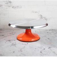 Подставка для торта вращающаяся металлическая D29см H13см оранжевая