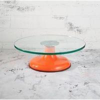 Подставка для торта вращающаяся металлическая +стекло D29см H13см оранжевая