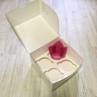 Коробка для кексов мелованная 4 ячейки