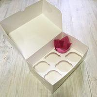Коробка для кексов мелованная 6 ячеек