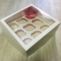 Коробка для кексов 9 ячеек мелованная с окном