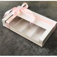 Коробка для эклеров и эскимо с прозрачной крышкой 4 ячейки